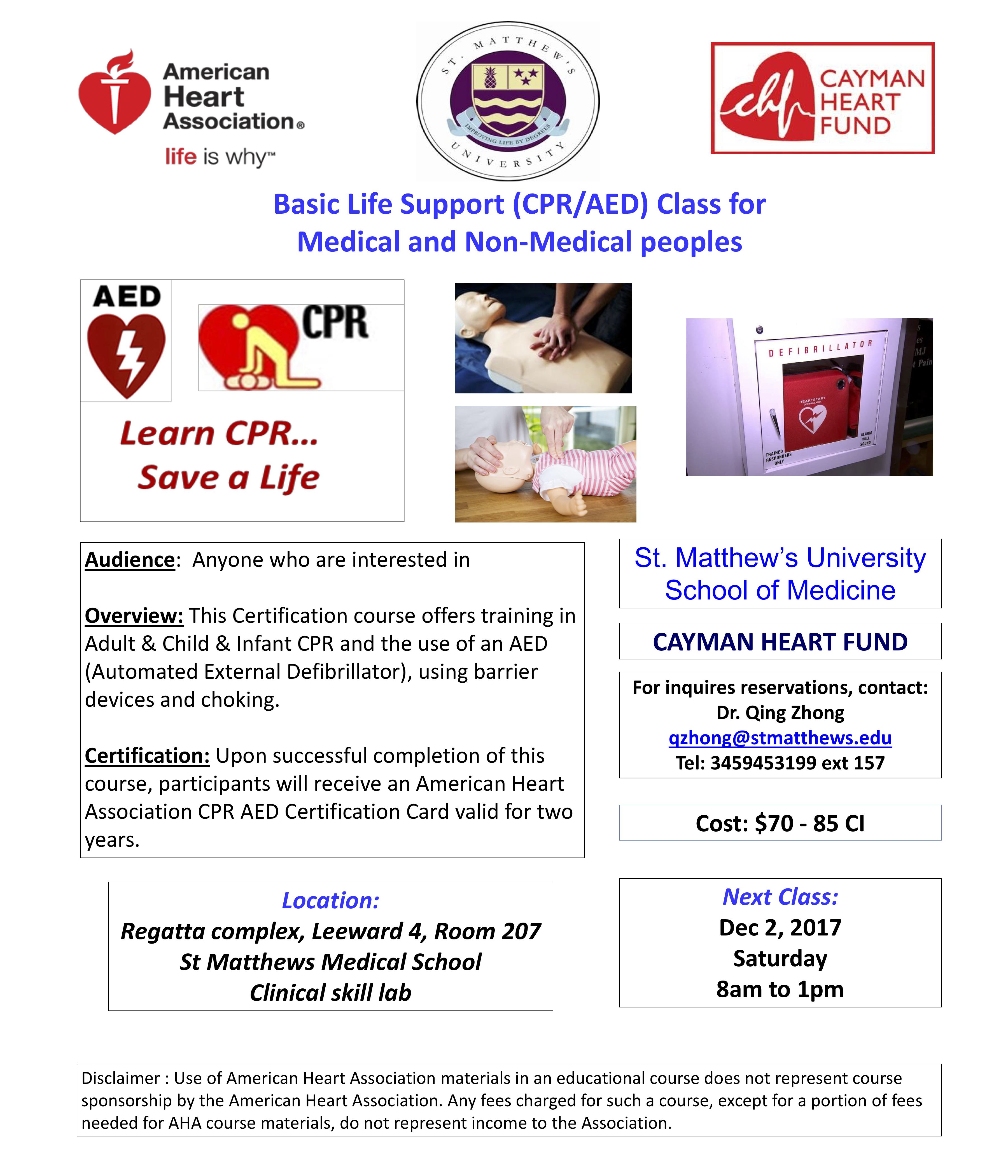 Basic life support cpraed class cayman heart fund bls and cpr courses in conjunction with the facility at st matthews university st matthews university is accredited as a training center by the 1betcityfo Gallery